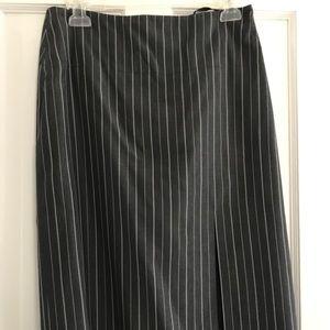 Gray and white stripe skirt